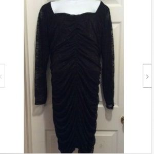 Torrid Dress 4X Black Lace Ruched Sweetheart Neck